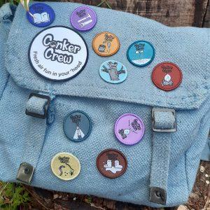 Conker Crew retro badge set